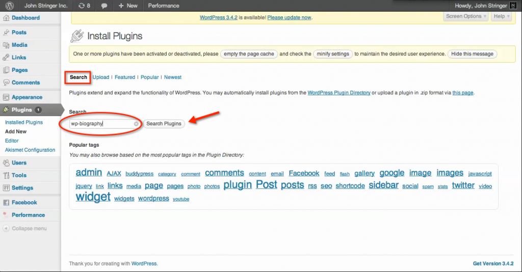 "How to Install plugins on a wordpress.org site: Enter a keyword in the search field and click  the ""Search Plugins"" button"