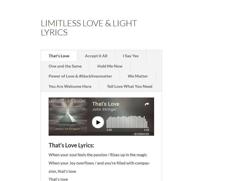 "Check out ""Limitless Love & Light"" Lyrics & bonus downloads"