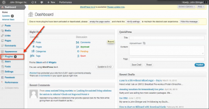 Log in to WordPress and click the Plugins option