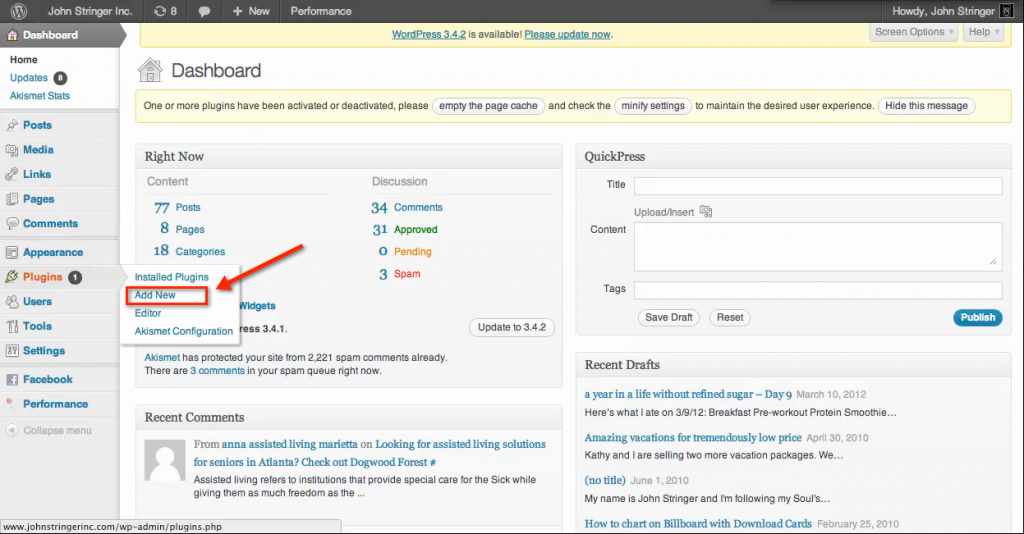 "How to Install plugins on a wordpress.org site: Choose the ""Add New"" option from the ""Plugins"" sub menu"