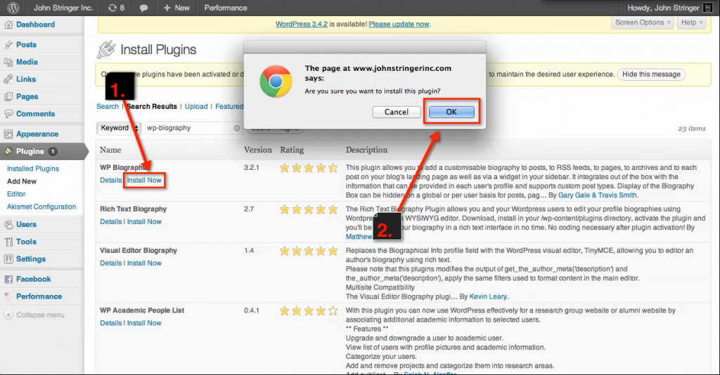 "How to Install plugins on a wordpress.org site: Click ""Install Now"" for the Plugins you want to use and confirm"